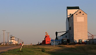 Cabri, Saskatchewan - Grain elevators along Railway Avenue, Cabri.