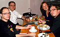 Café Konrad nach dem Vortrag in der Gottfried Wilhelm Leibniz Bibliothek, Stefan aus Göttingen, Christoph Meineke aus Wennigsen, Claudia Wilholt-Keßling, Hannover, Sebastian Sooth, Berlin.JPG