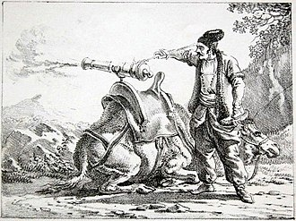 Zamburak - 17th century Persian artilleryman operating a Zamburak