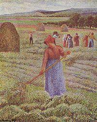 Камий Писаро: Peasant Girl Raking Hay at Èragny