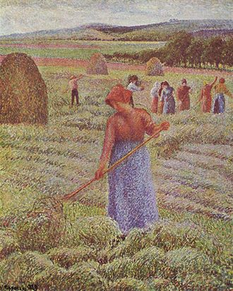 Post-Impressionism - Camille Pissarro, Haying at Eragny, 1889, Private Collection