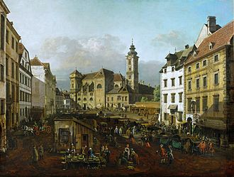 Schottenkirche, Vienna - View of the Freyung and the Schottenkirche, painted by Canaletto in 1758