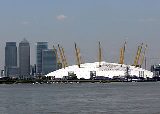 The Millennium Dome opened in London. Canary.wharf.and.dome.london.arp.jpg