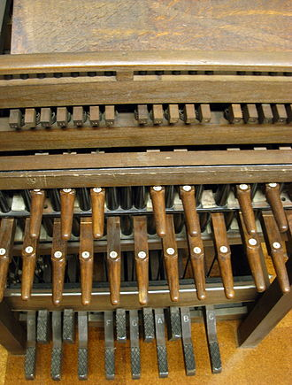 Pedal keyboard - Carillon keyboard for playing church bells; the pedals play the lowest-pitched bells.