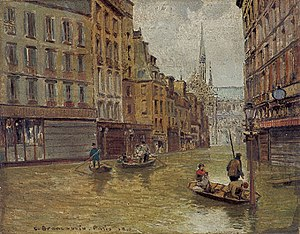 1910 in France - Flood in Paris by Carlo Brancaccio