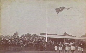 Carlton Football Club - The 1906 VFL premiership flag being hoisted at Carlton Oval