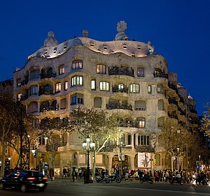 Casa Milà at dusk in Barcelona, Spain. Taken b...