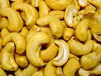 Cashew nut snack, roasted and salted