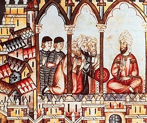 Moors - Castillian ambassadors attempting to convince Moorish Almohad king Abu Hafs Umar al-Murtada to join their alliance (contemporary depiction from the Cantigas de Santa María)
