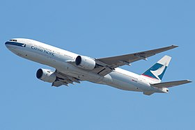 Cathay Pacific Boeing 777-200; B-HNL@HKG.jpg