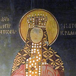 Catherine of Hungary, Queen of Serbia, St. Achilleos monastery, Arilje, 1296.jpg