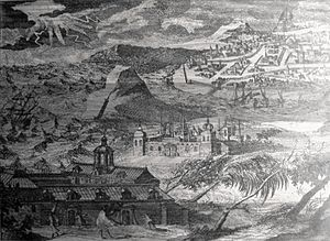 France–Thailand relations - Foundation of the Seminary of Saint Joseph (now College General) in the Ayutthaya Kingdom (17th century print)