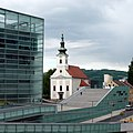Catholic church and Ars Electronica Center, Linz . Альт-Урфар, Линц, Австрия - panoramio.jpg