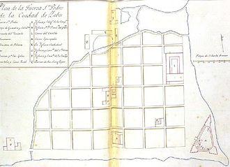 Fort San Pedro - Location of Fuerte de San Pedro during 1643.