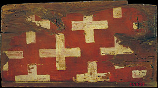 Small coffered ceiling panel with crosses, the emblem of the Cruïlles family