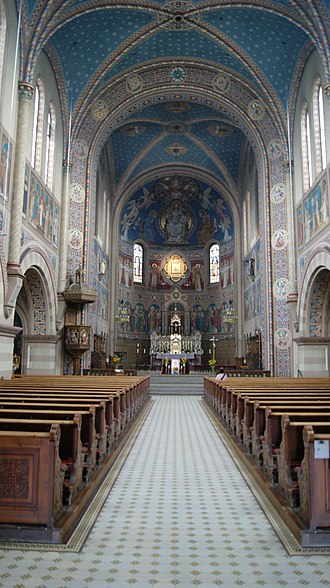Max Schmalzl - Apse and sanctuary of the Church of Our Lady of Perpetual Help in Cham, Germany. The colorful fresco decoration of the church is of Schmalzl's design.