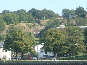 Chatham, Kent - Looking from the river at Sun Pier along the Great Barrier Ditch, to the Gun Platforms at Fort Amherst