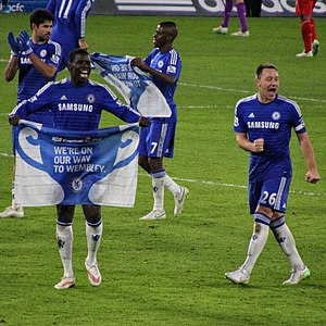 2015 Football League Cup Final - Chelsea players celebrating their semi-final victory. From left to right: Diego Costa, Kurt Zouma, Ramires and John Terry