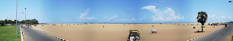 Panoramic view of a stretch of the sandy Marina beach