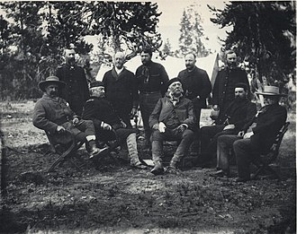Daniel G. Rollins - Chester A. Arthur and party, Yellowstone National Park, Wyoming, 1883 (From description at this other version: Left to right: John Schuyler Crosby, Lt. Col. Michael V. Sheridan. Lt. Gen. Philip H. Sheridan, Anson Stager, unidentified, President Arthur, unidentified, unidentified, Robert Todd Lincoln, and George G. Vest. Unidentified men may be Daniel G. Rollins, James F. Gregory, W.P. Clark, W. H. Forwood, and/or George G. Vest, Jr.)
