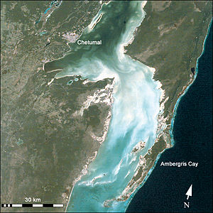 Chetumal Bay - Satellite photo of Chetumal Bay, with the Caribbean Sea (right/east).