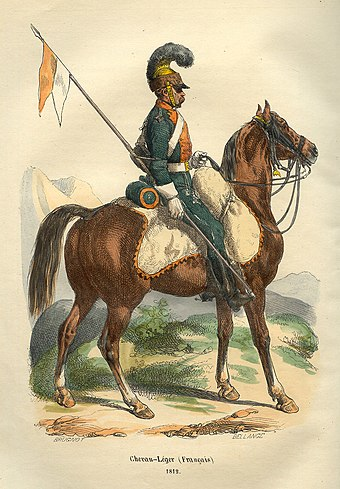 Private of the Chevau-legers of the line (lancers) who routed the Union Brigade Napoleon French Lancer by Bellange.jpg
