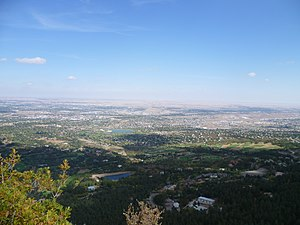 Cheyenne Mountain Highway - View of Colorado Springs from Will Rogers Shrine of the Sun on Cheyenne Mountain Highway