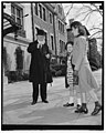 Chief Justice celebrates 77th birthday. Washington, D.C., April 11. Leaving his home for the usual morning stroll on his 77th birthday today Chief Justice Charles Evans Hughes acknowledges LCCN2016875416.jpg