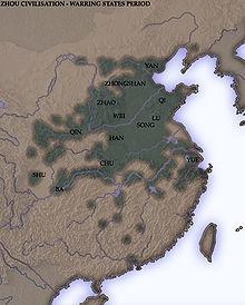 Carte de la Chine orientale montrant la répartition des principaux états de la période des Royaumes combattants.