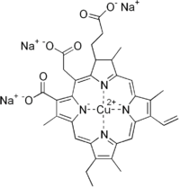 Structural formula of chlorophyllin, sodium salt