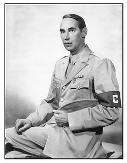 Christopher Grant La Farge in uniform as a war correspondent during World War II.