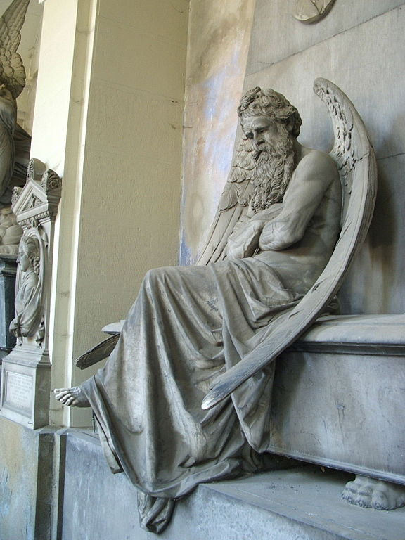 Chronos, God of time, by Santo Saccomanno, 1876, it:Cimitero monumentale di Staglieno, Genova