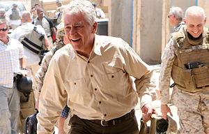 Chuck Hagel - Senator Chuck Hagel arriving at Camp Ramadi, during a 2008 visit to U.S. Service members in Iraq