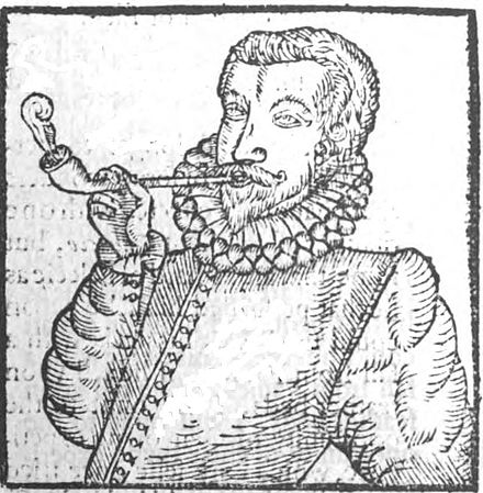 The earliest depiction of a European man smoking, from Tobacco by Anthony Chute, 1595. Chute tobacco.JPG