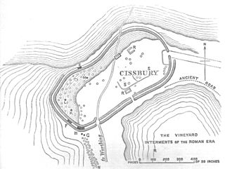 South Downs - Plan of Cissbury fort showing shafts