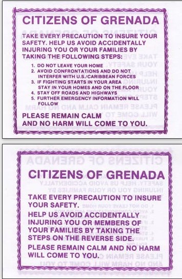 Citizens of Grenada-US leaflet