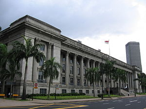 Judicial officers of the Republic of Singapore - On St. Andrew's Road facing the Padang is City Hall, which was built between 1926 and 1929 and housed 12 courtrooms of the High Court from 1988 to 2005 – photographed in January 2006