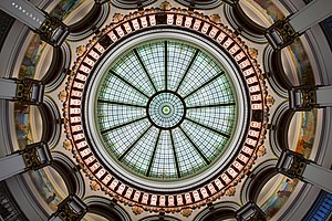 Cleveland Trust Company Building - Stained-glass dome and drum murals inside the rotunda of the building.
