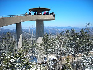 The Clingman's Dome Observation Tower rises fi...