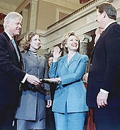 Clinton being sworn in as U.S. Senator by Vice President Al Gore in 2000. Her husband Bill and daughter Chelsea are looking on.