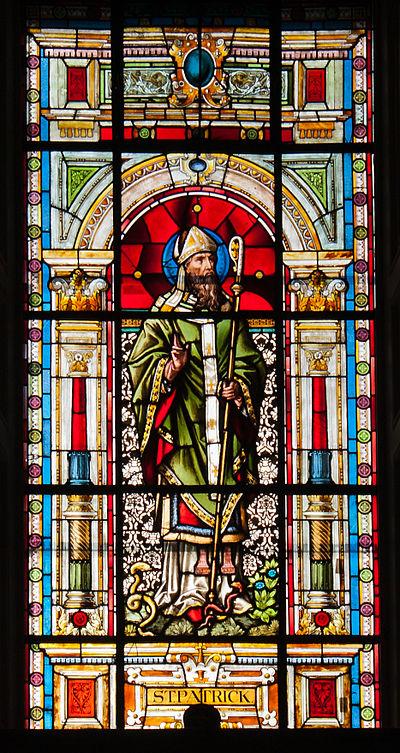 Clonmel Irishtown St. Mary's Church of the Assumption Nave West Wall Fourth Bay Window Saint Patrick 2012 09 06.jpg