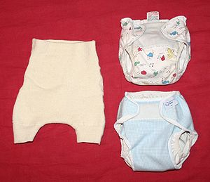 Different kinds of outer diapers. Baby diapers.