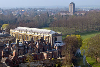 Cambridge University Library - The University Library (background) and Trinity College's Wren Library (foreground), as viewed from St John's College chapel tower