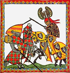 Destrier - Caparisoned horses competing in a joust from the Codex Manesse.