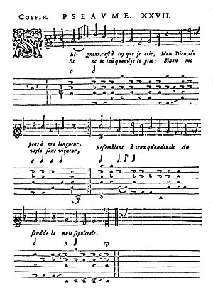 Claude Coffin - Psalm XXVII by Desportes set to music for voice and lute by Claude Coffin (1617)