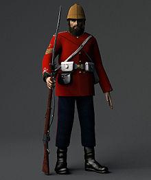 Colour-sergeant (sergente-maggiore) del 24º reggimento di fanteria (Warwickshire) col suo Martini-Henry. Notare la baionetta-sciabola utilizzata dai sottoufficiali, mentre i soldati semplici erano dotati di baionette dritte.