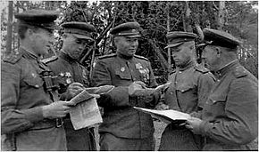 Commander of 75th RD Gen. Gorishnii V.A. and Commanders of the Regiments. 1944
