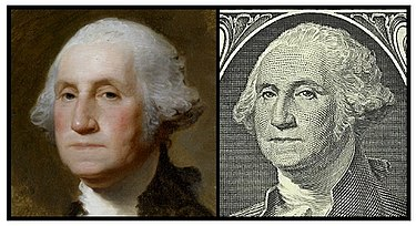 Comparison between Gilbert Stuart's 1796 Athenaeum Portrait and the image on the obverse of the bill. The image from the dollar bill above shows the subject flipped horizontally for ease of comparison. Comparison between Athenaeum Portrait and United States one-dollar bill.jpg