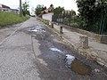Concrete traffic bollards and potholes, Gödöllői Road, 2020 Mogyoród.jpg