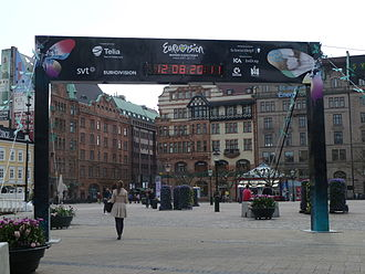 Eurovision Song Contest 2013 - Square in Malmö before the finals, with time table demonstrating the countdown for the broadcast.